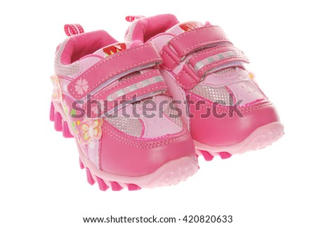 Sport girl shoes isolated on white - stock photo