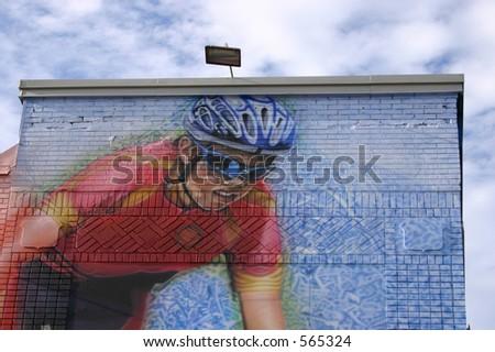 Sport graffiti - Biker - stock photo