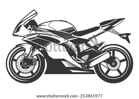 Sport Motorcycle with Helmet. Isolated sketch of of racing Super Bike. - stock photo