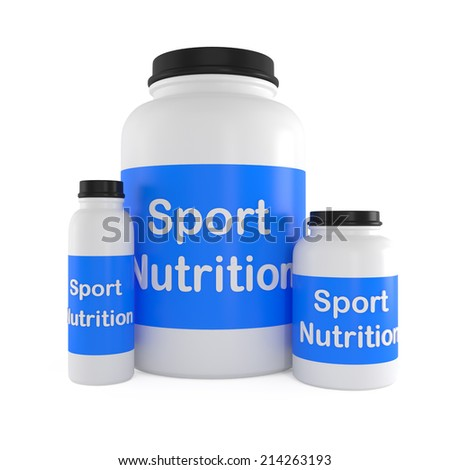 Sport Nutrition Supplement containers isolated on white - 3d illustration - stock photo