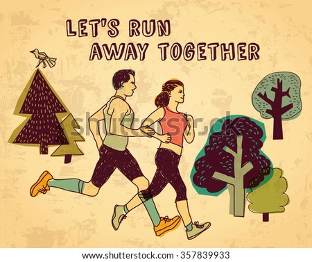 Sport run couple and sign color card. Color illustration.  - stock photo