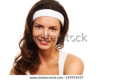Sport's beauty - close-up of a woman after workout wearing hair band - stock photo