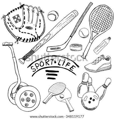 Sport sketch doodles elements. Hand drawn set with baseball bat and glove, segway bowling, hockey tennis items, Drawing doodle collection, isolated on white background.. - stock photo