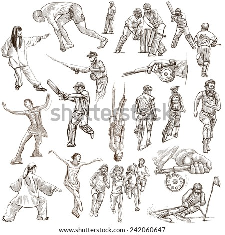 SPORT, Sporting Events around the World - Collection of an hand drawn illustrations (pack no.9). Description: Full sized hand drawn illustrations drawing on white. - stock photo