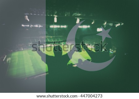 sport stadium with fans and blending Pakistan flag - stock photo