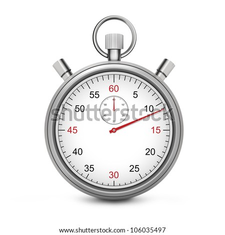 Sport Stopwatch with red second hand isolated on a white background. - stock photo