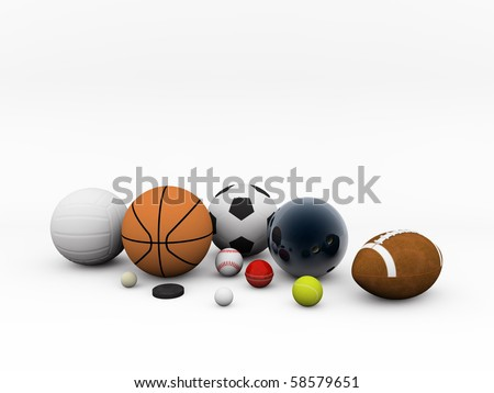 sport stuff isolated on white background - stock photo