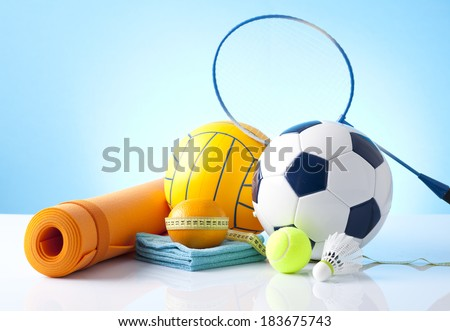 Sport theme. Balls, and other sport equipment. - stock photo