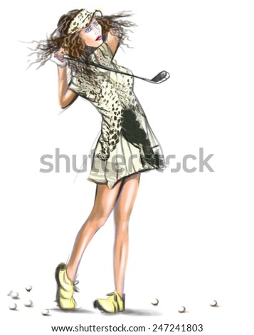 Sport Topic: GOLF, Golfer (Finishing position. Young woman looks directly into the camera after hit the golf ball). An hand painted (Digital painting) full sized illustration (Original) on white. - stock photo
