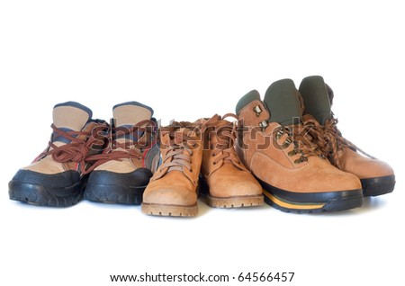 Sport walking shoes with strings isolated on white background. - stock photo