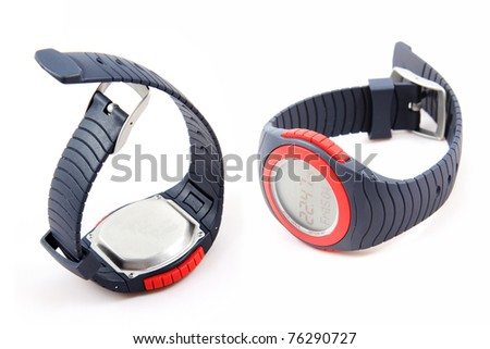 Sport watch isolated on white - stock photo