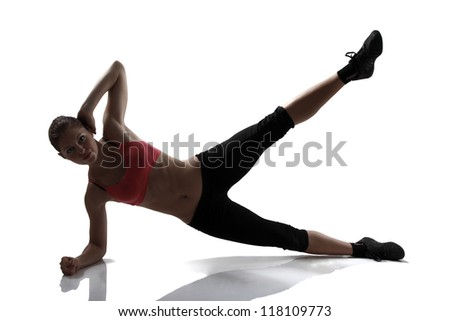 sport woman doing abs and legs exercise, silhouette studio shot over white background - stock photo