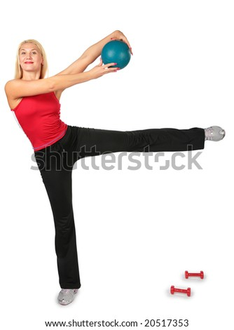 sport woman with ball - stock photo