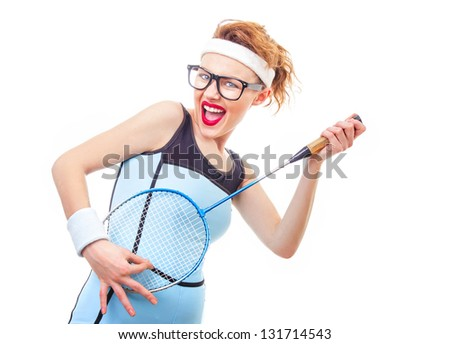 Sport woman with racket, funny girl playing tennis - stock photo