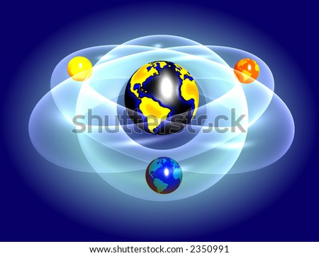 Sport world,earth surrounded by sport balls with athom trajectories and gradient blue background - stock photo