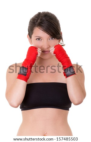 sport young woman, gloves, fitness girl over white background - stock photo