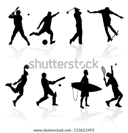 Sporting Silhouettes illustration of various sporting athletes and competitors in silhouette. - stock photo