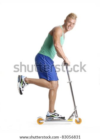 Sportive young man skating on white background. - stock photo