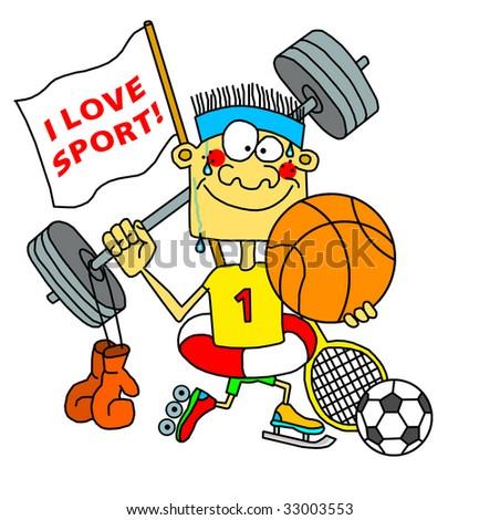 Sportman fanatic - stock photo