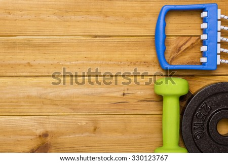 Sports accessories for practicing at home or fitness center. - stock photo