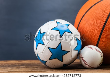 Sports accessories. paddles, sticks, balls and a lot of fun - stock photo