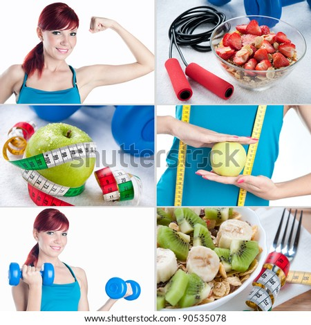 Sports and healthy eating collage - stock photo