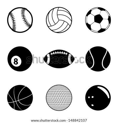 Sports Balls Icon Set. Raster version, vector also available. - stock photo