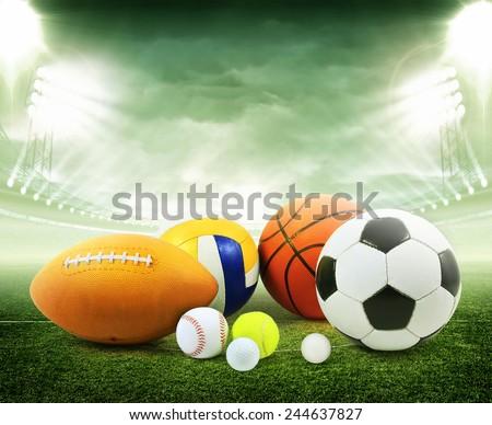 Sports balls in stadium - stock photo