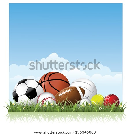 Sports balls in the grass.  - stock photo