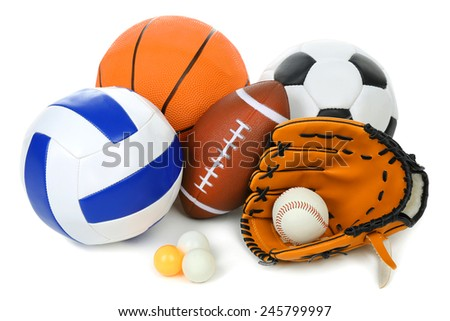 Sports balls isolated on white - stock photo