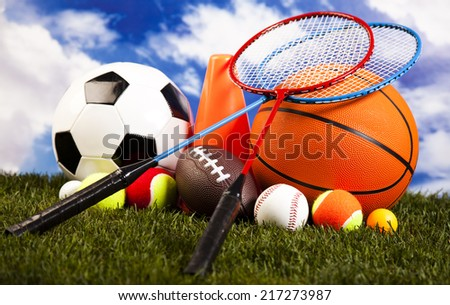 Sports balls with equipment  - stock photo