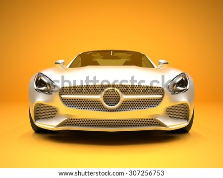 Sports car front view. The image of a sports white car on a gold background - stock photo