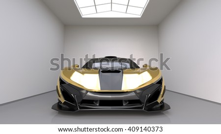 Sports car front view. The image of a sports yellow car on a studio room. 3d illustration. - stock photo