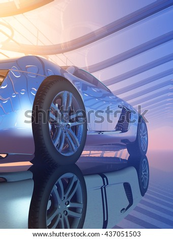Sports car in the tunnel. 3d render - stock photo