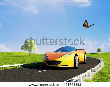 Sports car on a background of green field. 3d render - stock photo