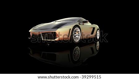 sports car on black - stock photo