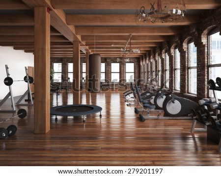 Sports club cross fit gym interior. Photo realistic 3d illustration - stock photo