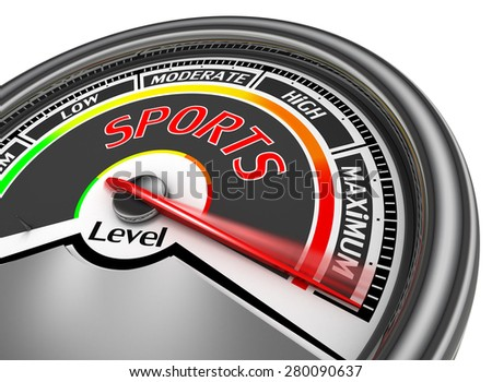 Sports conceptual meter indicate maximum, isolated on white background - stock photo