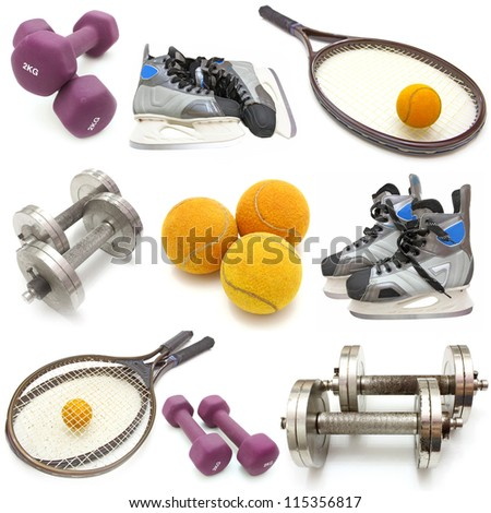 sports equipment collage. Isolated on white background. - stock photo