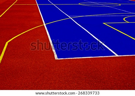 Sports field with synthetic turf and different markings, used in sports. - stock photo