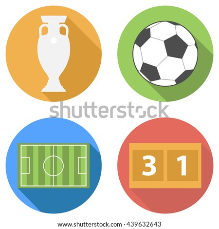 Sports football soccer flat icons set with long shadow - Euro trophy prize cup, ball, football playing field, scoreboard and score illustration.  - stock photo