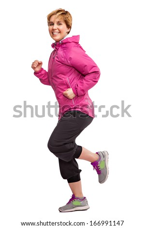 Sports girl running on a white background - stock photo