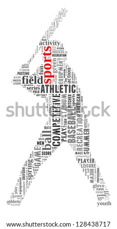 Sports info-text graphic and arrangement concept on white background (word cloud) - stock photo