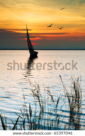 sports on the lake - stock photo