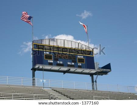 Sports scoreboard in the clouds - stock photo