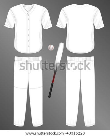 Sports series. Realistic team baseball uniform: pants and split front classic jersey (front and back). Blank template - just add your art. - stock photo