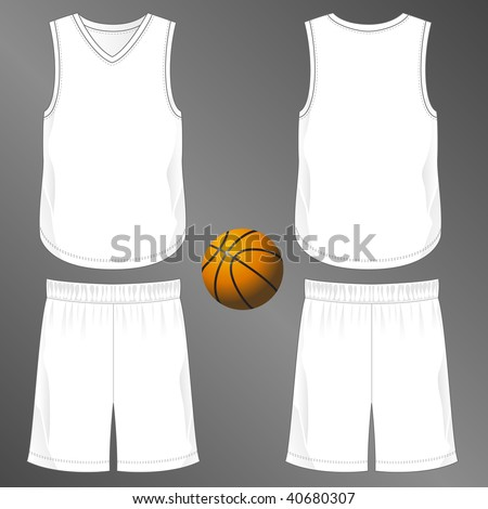 Sports series. Realistic team basketball uniform: shorts and sleeveless v-neck jersey  (front and back). Blank template - just add your art. - stock photo