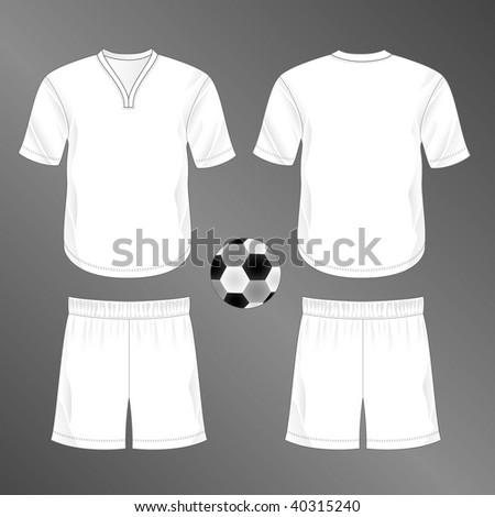 Sports series. Realistic team soccer (European football) uniform: shorts and jersey with rounded v-neck (front and back). Blank template - just add your art. - stock photo