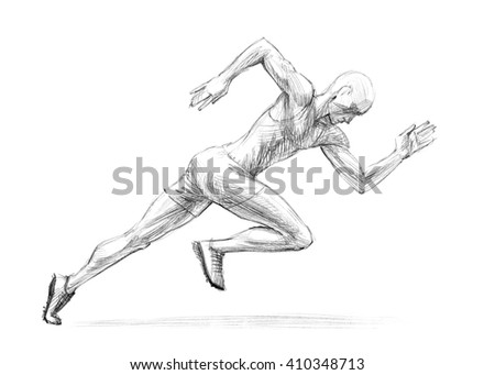 Sports Series / Sketchy pencil drawing of a running man / High Resolution Scan - stock photo