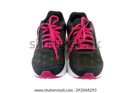 Sports shoes color black and red isolated on white background. clipping path on picture. - stock photo